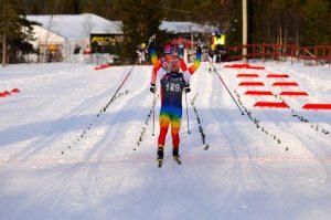 Sivert går inn til seier på sprinten. Foto H. Wiig.